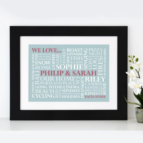 Personalised 'We Love' Word Art Print